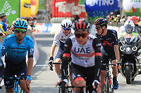 21st April 2021; Imst, Austria;  Cycling Tour des Alpes Stage 3,  Imst in Austria to Naturns/Naturno, Italy; Christopher Froome Israel Start-Up Nation speaks with Salvatore Puccio Ineos Grenadiers