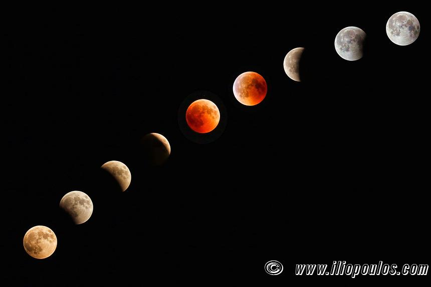Blood Moon Lunar Eclipse Progression of July 2018