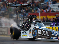 Sep 1, 2017; Clermont, IN, USA; The rear tire for the dragster of NHRA top fuel driver Shawn Langdon goes off the ground as he experiences tire shake during qualifying for the US Nationals at Lucas Oil Raceway. Mandatory Credit: Mark J. Rebilas-USA TODAY Sports
