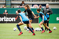 TACOMA, WA - JULY 31: Sofia Huerta #11 of the OL Reign looks for a pass before a game between Racing Louisville FC and OL Reign at Cheney Stadium on July 31, 2021 in Tacoma, Washington.