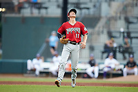 Carolina Mudcats first baseman Ryan Aguilar (11) tracks a pop fly during the game against the Winston-Salem Dash at BB&T Ballpark on June 1, 2019 in Winston-Salem, North Carolina. The Dash defeated the Mudcats 5-4 in game two of a double header. (Brian Westerholt/Four Seam Images)