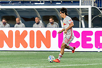 FOXBOROUGH, MA - AUGUST 29: Florian Valot #22 of New York Red Bulls passes the ball during a game between New York Red Bulls and New England Revolution at Gillette Stadium on August 29, 2020 in Foxborough, Massachusetts.