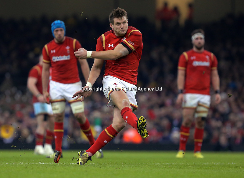 Dan Biggar of Wales scoring with a kick during the RBS 6 Nations Championship rugby game between Wales and Scotland at the Principality Stadium, Cardiff, Wales, UK Saturday 13 February 2016