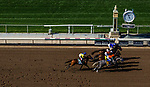 ARCADIA, CA - JUNE 02: The field for the Beholder Mile Stakes battle for position at Santa Anita Park on June 02, 2018 in Arcadia, California. (Photo by Alex Evers/Eclipse Sportswire/Getty Images)