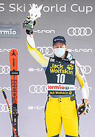 29th December 2020; Stelvio, Bormio, Italy; FIS World Cup Super for Men;   third placed Adrian Smiseth Sejersted of Norway during the winners ceremony