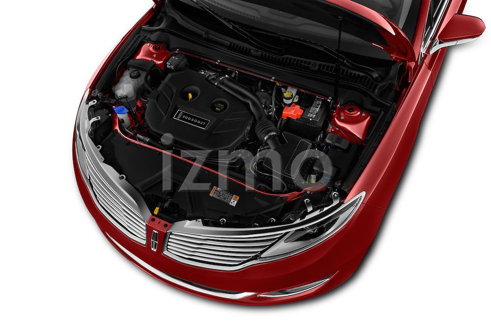 Car Stock 2016 Lincoln MKZ - 4 Door Sedan Engine  high angle detail view