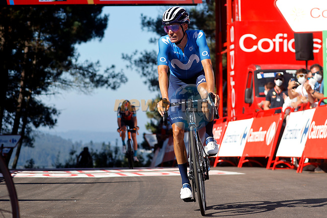Enric Mas Nicolau (ESP) Movistar Team crosses the finish line in 4th place at the end of Stage 20 of La Vuelta d'Espana 2021, running 202.2km from Sanxenxo to Mos, Spain. 4th September 2021.    <br /> Picture: Luis Angel Gomez/Photogomezsport | Cyclefile<br /> <br /> All photos usage must carry mandatory copyright credit (© Cyclefile | Luis Angel Gomez/Photogomezsport)
