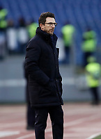 Calcio, Serie A: AS Roma - Sassuolo, Roma, stadio Olimpico, 30 dicembre 2017.<br /> Roma's coach Eusebio Di Francesco speaks looks on during the Italian Serie A football match between AS Roma and Sassuolo at Rome's Olympic stadium, 30 December 2017.<br /> UPDATE IMAGES PRESS/Isabella Bonotto