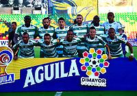 BUCARAMANGA - COLOMBIA, 29-10-2019: Jugadores de La Equidad, posan para una foto antes de partido entre Atlético Bucaramanga y La Equidad, de la fecha 20 por la Liga Águila II 2019, jugado en el estadio Alfonso López de la ciudad de Bucaramanga. / Players of La Equidad pose for a photo prior a match between Atletico Bucaramanga and La Equidad, of the 20th date for the Aguila Leguaje II 2019 at the Alfonso Lopez Stadium in Bucaramanga city Photo: VizzorImage / Oscar Martínez / Cont.