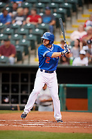 Oklahoma City Dodgers third baseman Mike Freeman (2) at bat during a game against the Colorado Springs Sky Sox on June 2, 2017 at Chickasaw Bricktown Ballpark in Oklahoma City, Oklahoma.  Colorado Springs defeated Oklahoma City 1-0 in ten innings.  (Mike Janes/Four Seam Images)