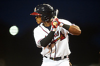 Mississippi Braves outfielder Mallex Smith (1) at bat during a game against the Pensacola Blue Wahoos on May 27, 2015 at Trustmark Park in Pearl, Mississippi.  Pensacola defeated Mississippi 7-5 in fourteen innings.  (Mike Janes/Four Seam Images)