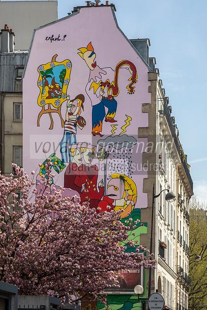 Europe/ France/ Paris/75011:  : Rue Oberkampf - Street Art , Fresque de P Enfant sur le pignon d'un immeuble  //  Europe / France / Paris / 75011:: Rue Oberkampf - Street Art, Fresque by P Enfant on the gable of a building
