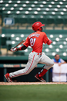 Philadelphia Phillies Logan Simmons (21) follows through on a swing during a Florida Instructional League game against the Baltimore Orioles on October 4, 2018 at Ed Smith Stadium in Sarasota, Florida.  (Mike Janes/Four Seam Images)
