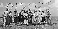 Klishevo collective farm; near Moscow; USSR (Union of Soviet Socialist Republics). A group of women collective farmers replace the men who have left for the front during World War Two