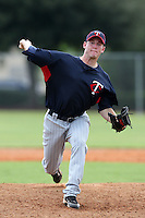 Minnesota Twins pitcher Matt Houser #85 during an Instructional League game against the Boston Red Sox at Red Sox Minor League Training Complex in Fort Myers, Florida;  October 3, 2011.  (Mike Janes/Four Seam Images)