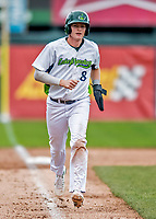 25 July 2017: Vermont Lake Monsters third baseman Will Toffey, a 4th round draft pick for the Oakland Athletics, comes home to score Vermont's 10th run against the Tri-City ValleyCats in the 7th inning at Centennial Field in Burlington, Vermont. The Lake Monsters defeated the ValleyCats 11-3 in NY Penn League action. Mandatory Credit: Ed Wolfstein Photo *** RAW (NEF) Image File Available ***