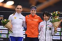 SPEEDSKATING: HAMAR: 01-03-2020, ISU World Speed Skating Championships, Allround, Podium 1500m Ladies, Evgeniia Lalenkova (RUS), Ireen Wüst (NED), Nana Takagi (JPN), ©photo Martin de Jong