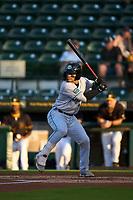 Daytona Tortugas Daniel Vellojin (10) bats during a game against the Bradenton Marauders on June 9, 2021 at LECOM Park in Bradenton, Florida.  (Mike Janes/Four Seam Images)