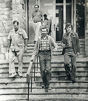 1979 FILE PHOTO - ARCHIVES -<br /> <br /> Joe Clark leaves a transition-of-power committe meeting with advisers Bill Neville (left), <br /> Jock Osler (rear) and<br />  Donald Boyle<br /> <br /> Bezant, Graham<br /> Picture, 1979<br /> <br /> 1979,<br /> <br /> PHOTO : Graham Bezant - Toronto Star Archives - AQP