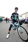 Francesco Marketing Manager from Bianchi at the start of the 2015 96th Milan-Turin 186km race starting at San Giuliano Milanese, Italy. 1st October 2015.<br /> Picture: Eoin Clarke | Newsfile
