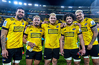 From left, Hurricanes Vaea Fifita, Asafo Aumua, Alex Fidow, Du'Plessis Kirifi and Isaia Walker-Leawere after the Super Rugby Aotearoa match between the Hurricanes and Blues at Sky Stadium in Wellington, New Zealand on Saturday, 18 July 2020. Photo: Dave Lintott / lintottphoto.co.nz