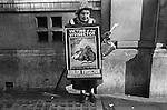 Old age lady pensioner hands out leaflets Abolish Vivisection. London 1976 1970s