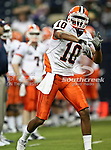 Illinois Fighting Illini wide receiver Eddie McGee (10) practicing before the 2010 Texas  Bowl football game between the Illinois  Fighting Illini and the Baylor Bears at the Reliant Stadium in Houston, Tx. Illinois defeats Baylor 38 to 14....