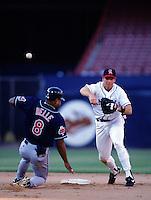 Rex Hudler of the California Angels at Anaheim Stadium in Anaheim,California during the 1996 season. (Larry Goren/Four Seam Images)