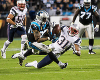 The Carolina Panthers play the New England Patriots at Bank of America Stadium in Charlotte North Carolina on Monday Night Football.  The Panthers defeated the Patriots 24-20.  New England Patriots cornerback Aqib Talib (31) defends against Carolina Panthers wide receiver Steve Smith (89)