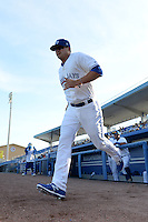 Dunedin Blue Jays first baseman Matt Dean (33) jogs to the field during introductions before a game against the Clearwater Threshers on April 10, 2015 at Florida Auto Exchange Stadium in Dunedin, Florida.  Clearwater defeated Dunedin 2-0.  (Mike Janes/Four Seam Images)