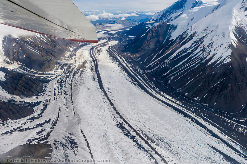 Aerial of the Muldrow glacier winding out from Denali, North America's tallest peak.