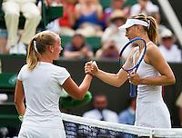 England, London, June 30, 2015, Tennis, Wimbledon, Richel Hogenkamp (NED) congratulates Maria Sharapova (RUS) on her win<br /> Photo: Tennisimages/Henk Koster