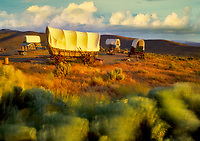 Covered wagons at Oregon Trail Interpretive Center. Near Baker City, Oregon