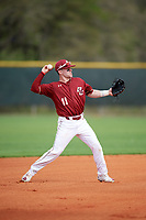 Boston College Eagles shortstop Jake Palomaki (11) throws to first while warming up in between innings during a game against the Minnesota Golden Gophers on February 23, 2018 at North Charlotte Regional Park in Port Charlotte, Florida.  Minnesota defeated Boston College 14-1.  (Mike Janes/Four Seam Images)