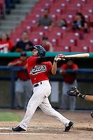 David Villasuso #29 of the High Desert Mavericks bats against the Visalia Rawhide at Stater Bros. Stadium on July 20, 2013 in Adelanto, California. High Desert defeated Visalia, 7-4. (Larry Goren/Four Seam Images)