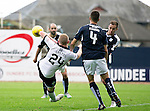 Dundee v St Johnstone...15.08.15  SPFL   Dens Park, Dundee<br /> Brian Easton is pulled down in the box by Thomas Konrad<br /> Picture by Graeme Hart.<br /> Copyright Perthshire Picture Agency<br /> Tel: 01738 623350  Mobile: 07990 594431