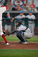 Hudson Valley Renegades catcher Michael Berglund (29) waits to receive a pitch during a game against the Auburn Doubledays on September 5, 2018 at Falcon Park in Auburn, New York.  Hudson Valley defeated Auburn 11-5.  (Mike Janes/Four Seam Images)