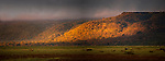 Early morning light on the Western Wall of the Great Rift Valley. Lake Manyara National Park, Tanzania.