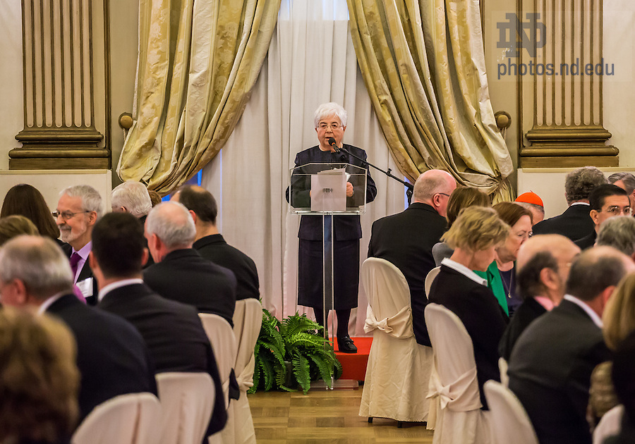 Jan. 27, 2014; Maria Voce speaks at a lunch following a ceremony in which she was awarded an honorary Doctor of Laws degree from the University of Notre Dame at the Notre Dame Rome Centre.<br /> <br /> Photo by Matt Cashore/University of Notre Dame
