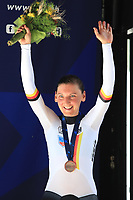 2021 UEC Road Cycling European, Trento, Trentino–Alto Adige, Italy on 9th; Men Elite Individual Time Trial, Lisa Brennauer (Germany) 3rd place finisher on podium
