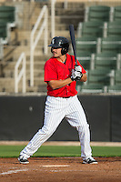 Christian Stringer (9) of the Kannapolis Intimidators at bat against the Hickory Crawdads at CMC-Northeast Stadium on April 17, 2015 in Kannapolis, North Carolina.  The Crawdads defeated the Intimidators 9-5 in game one of a double-header.  (Brian Westerholt/Four Seam Images)