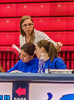 24 November 2015: Yeshiva University Maccabees Assistant Director of Athletics Erica Lemm, assists statistics during a game against the College of Mount Saint Vincent Dolphins at the Baruch College ARC Arena Gymnasium, in New York, NY. The Dolphins defeated the Maccabees 67-30 in the NCAA Division III Women's Basketball Skyline matchup. Mandatory Credit: Ed Wolfstein Photo *** RAW (NEF) Image File Available ***
