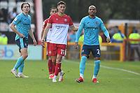 Elliot Osborne of Stevenage FC and Jake Caprice of Exeter City during Stevenage vs Exeter City, Sky Bet EFL League 2 Football at the Lamex Stadium on 9th October 2021