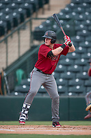 AZL Diamondbacks first baseman Jordan McArdle (45) at bat during the completion of a suspended Arizona League game against the AZL Angels at Tempe Diablo Stadium on July 16, 2018 in Tempe, Arizona. The game was a continuation of the July 11, 2018 contest that was suspended by rain in the middle of the eighth inning. The AZL Diamondbacks defeated the AZL Angels 12-8. (Zachary Lucy/Four Seam Images)