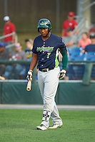 Vermont Lake Monsters first baseman Miguel Mercedes (7) walks to the plate during a game against the Auburn Doubledays on July 12, 2016 at Falcon Park in Auburn, New York.  Auburn defeated Vermont 3-1.  (Mike Janes/Four Seam Images)