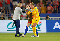 DECINES-CHARPIEU, FRANCE - JULY 02: Jill Ellis and her USWNT celebrate thier Semi-Final victory over England during a 2019 FIFA Women's World Cup France Semi-Final match between England and the United States at Groupama Stadium on July 02, 2019 in Decines-Charpieu, France.
