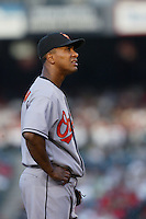 Melvin Mora of the Baltimore Orioles during a game from the 2007 season at Angel Stadium in Anaheim, California. (Larry Goren/Four Seam Images)