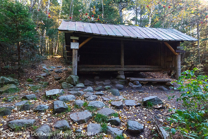 Ethan Pond Shelter located just off the Ethan Pond Trail (Appalachian Trail) in the White Mountains of New Hampshire during the autumn months. This is an Adirondack style shelter.