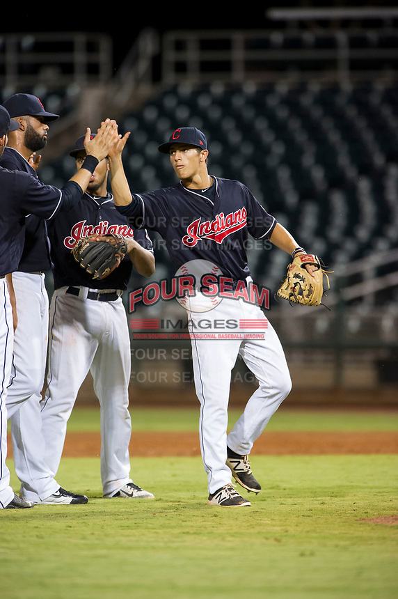 AZL Indians shortstop Tyler Freeman (7) congratulates teammates after a victory against the AZL Rangers on August 26, 2017 at Goodyear Ball Park in Goodyear, Arizona. AZL Indians defeated the AZL Rangers 5-3. (Zachary Lucy/Four Seam Images)