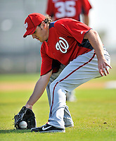 20 February 2011: Washington Nationals' pitcher John Lannan takes some fielding practice during Spring Training at the Carl Barger Baseball Complex in Viera, Florida. Mandatory Credit: Ed Wolfstein Photo